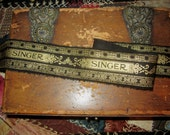 Tattered Fabric Ribbon  Vintage Classic Singer Sewing Logo Black Gold accents