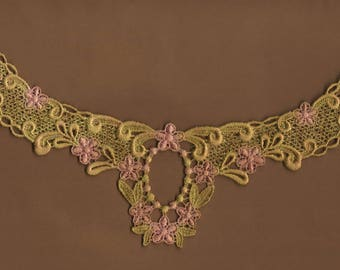 Hand Dyed Floral Venise Lace Applique Petite Floral Swag Aged Shabby Bliss