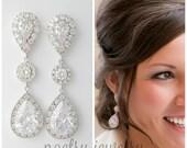Wedding Earrings Bridal Jewelry Large Clear Cubic Zirconia Teardrop Bridal Earrings Wedding Jewelry Crystal Wedding Earrings, Penelope