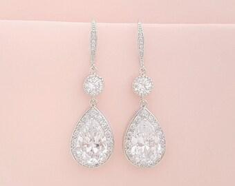 Large Bridal Drop Crystal Earrings Wedding Cubic Zirconia Drop Earrings Wedding Jewelry Crystal Dangle Wedding Earrings Rose Gold, Ely