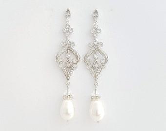 Vintage Style Wedding Earrings Pearl Wedding Jewelry Pearl Wedding Earrings Bridal Jewelry Cubic Zirconia Long Pearl Earrings, Elizabeth