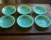 6 Jadeite Fire King Restaurantware Small BERRY Bowls Dessert Side Bowls