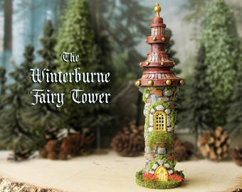 The Fairy Tower of Winterburne - Miniature Handcrafted Woodland Tower with Fairy Door, Flower Box, Multi-Tiered Roof, Golden Finial and Moss