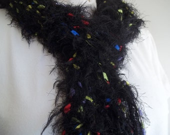 Black, Bright Novelty Eyelash Yarn Scarf, Women's Accessory, Long Fuzzy Fringe Drop Stitch Scarf, Ribbon Scarf, Night Lights