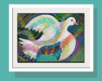 White Dove in Flight  Art Print - - Limited Edition 10 x 14 - Original Acrylic Painting - Folk Art - Peace - Fun Wall Art