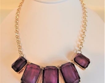 Pretty Vintage Chunky Amethyst Lucite Necklace