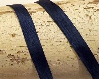 Silk Navy Blue Silk 1/4 inch 100% silk ribbon 2 yards