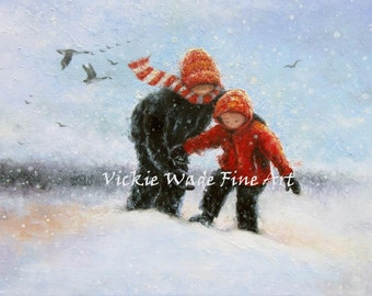 Two Children in Snow ORIGINAL Painting, two boys deep snow, two brothers snow painting, snow children, red black art Vickie Wade Paintings