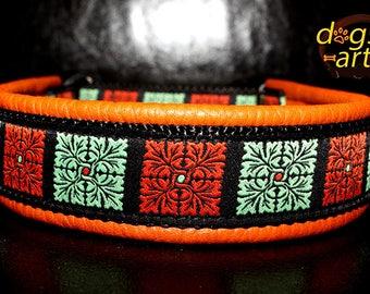 "Dog Collar ""Flower Quarter"" by dogs-art, orange dog collar, dog collar leather, martingale collar, limited slip collar, leather slip collar"