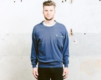 Vintage Faded Shirt . 90s Blue Sweater Mens Pyjama Top Aztec Shirt Cotton Sweatshirt Unisex Clothing . size Large L