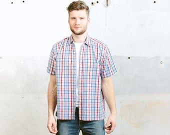 Mens Plaid Shirt . Vintage 90s Short Sleeve Shirt Summer Clothing Cotton Button Down Boyfriend Shirt . size Large L