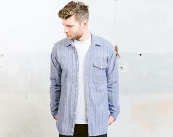 Vintage 80s Aztec Print Shirt . Mens SOUTHWESTERN Blue Striped Shirt Linen Jacket Button Down . size Medium M