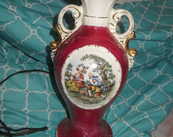 Antique 2 handle Hand Painted Porcelain Working Electric Table Lamp with Victorian Scene