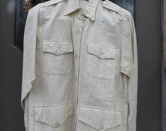 Vintage khaki beige  shirt jac  -- Silk & India Cotton    Long Sleeve Button Front Shirt --sz 8  unworn