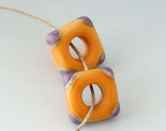 Southwest Disk Square Pair- (2) Handmade Lampwork Beads - Lavender, Pale Orange - Etched, Matte
