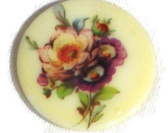 35mm cabochon,Vintage Cabochon,floral cabochon,round cabochon,Victorian cabochon,Flowers Limoges Style flowers NOS Glass N1386