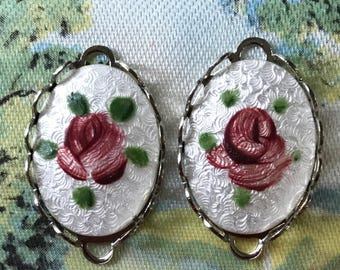 Rare Guilloche Jewelry,Connectors,enamel Findings,Hand painted Rose,Supplies,Shabby Chic Jewelry,Jewelry Parts NOS parts,#997W