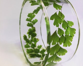 Maidenhair Fern Resin Bangle, Size Extra Large, Made With Real Fern, Green And Clear