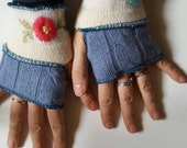 Fingerless Gloves in Blue Pink Cream and Gray Armwarmers Mitts