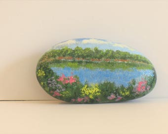 Painted Rocks, paperweight, nature, home decor, landscape, lake ,flowers.