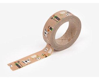 Farm printed Korean washi tape  for scrapbooking, decorations (15mm x 10m)