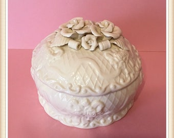 Sculpted Roses Candy Dish, Covered, Round, Embossed, Ribbon, Bows, Scrolls, Cross Hatch,  2 bs. 10 oz., Vintage 1980's