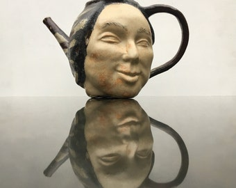 Ceramic Teapot Face Sculpture, Teacher Pot, Functional Art Head