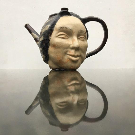 Ceramic Teapot Face Sculpture, Teacher Pot, Functional Art Head