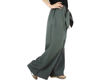 Funky Boho Hip Dark Grey Cotton Mix Linen Wide Legs Front Tie Women Pants With Elastic On Back Waist - SM704