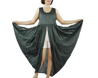 Butterfly - Boho Chic Funky Dark Charcoal Light Cotton Lawn Side Drape Long Tanktop Tunic