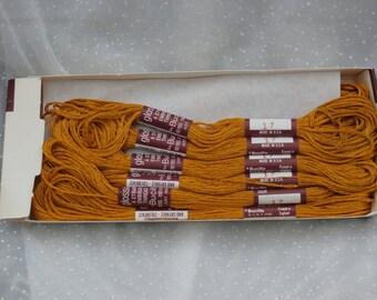 Golden Brown, Dark Yellow No. 17, One Dozen Skeins Vintage Bucilla Glossilla 4 Strand Embroidery Floss Thread, Box of 12