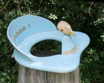 Vintage Wooden Potty Training Seat, Blue with Duck Head and Decal, Chippy Rustic Nursery Decor or Prop