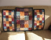 RESERVED Quilted Homespun Table Toppers Three Pieces