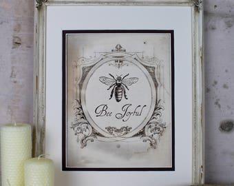 Bee Joyful Vintage French Art Honey Illustration Digital Instant Download Honeybee Printable Wall Art Home Decor Scrapbooking Greeting Card