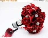 Winter Sale Red Roses Calla Lilies & Rhinestones Bridal Bouquet Real Touch Deep Red Callas Red Roses - Red Black Wedding Bouquet Boutonniere
