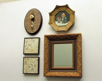 wall collage - Afternoon Tea - 5 pc vintage  wall art with  mirror- feng shui