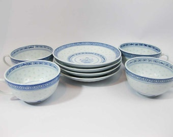 Chinese Blue & White Rice Grain Floral Tea Cups And Saucers (4 sets)