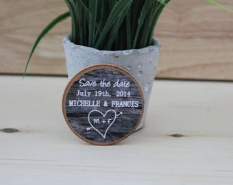 Magnets Wedding Favor Wooden chalkboard  Magnets rustic wedding favors wooden  Custom Save the date  made to order
