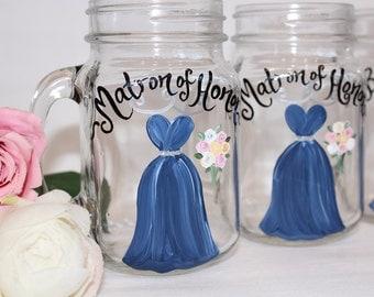 "Hand Painted Bridesmaid Mason Jars, Bridesmaid Gifts, Rustic Mason Jars, Bridal Party Mason Jars, Painted Wine Glasses ""PICK Your COLORS"