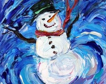 Snowman painting original oil 6x6 palette knife impressionism on canvas fine art by Karen Tarlton