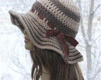 Crochet Sun Hat, Womens Cotton  Hat,   Wide Brim Hat, Summer Hat   Cotton Hat,  Garden,  Beach Wide Brim Hat