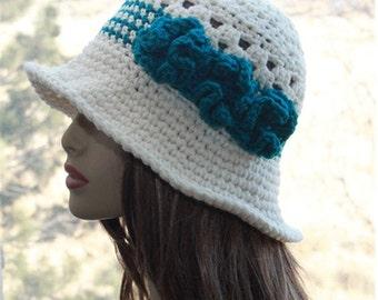 Womens Crochet  Hat,  Flapper  Hat, Crochet  Sun Hat, Bohemian Style Hat,  Wide Brim Hat, Summer Hat, Crochet Cream Hat, Womens Summer Hat
