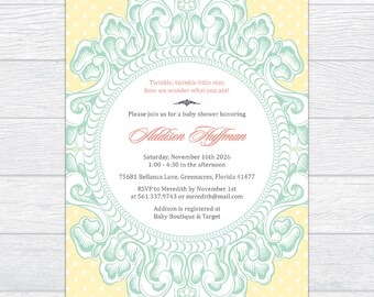 Gender Neutral Victorian Frame Baby Shower Invitation, Elegance Vintage Baby Shower Invite, Personalized Gender Reveal Baby Shower Invite