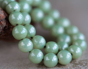 8mm Sage Green Czech Glass Druk Beads, Glass Round Beads, Picasso druk beads (25pcs) NEW