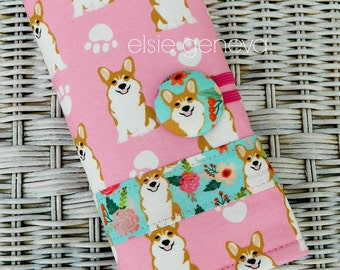 Corgi or Sheltie Crochet  Case Organizer Optional Personalization Clover Amour Soft Grip Polymer Clay Tunisian Terrier Boxer Maltese