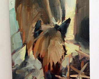 Pony in Barn Original Horse Farm Oil Painting by Angela Moulton 6 x 8 inch on Maple Panel pre-order