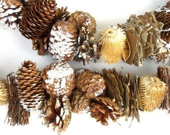 Real Pinecone Garland, Christmas Woodland Decorations, Woodsy Mantle Arrangement, Sparkly Snow, Twigs, Berries, Rustic Craft Supply