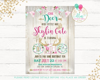 Deer Birthday Invitation, Deer Invitation, Little Deer Invite, Woodland Birthday Invitation, Woodland Invite, Pink and Gold, Glitter, DIY