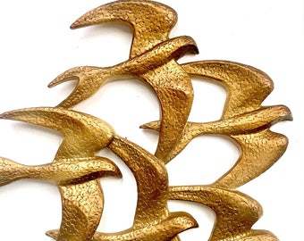 Golden Swallows, Bird Wall Art, Vintage Syroco Bird Hangings, 3D Gold Bird Wall Hangings, Flying Bird Art, Flying Swallow Wall Decor