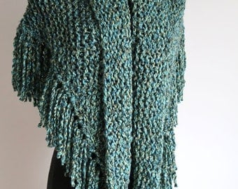 Large Size Emerald Green Blue Turquoise Teal Color Chunky Knitted Shawl Wrap Stole Head Cover with Tassels Fringes